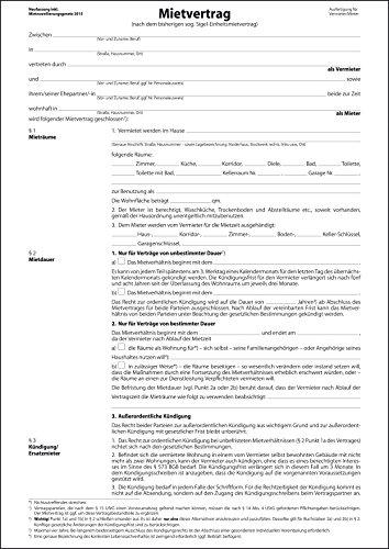 Sigel MV466/25 Einheitsmietverträge mit Hausordnung, 6seitig, DIN A4, 25 Stück