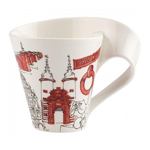 Villeroy & Boch Cities of the World Kaffeebecher Heidelberg, 300 ml, Premium Porzellan, Weiß/Bunt